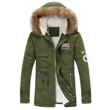 2014 new arrival men's thick warm winter down coat fur collar army green badge big yards long section cotton coat jacket men(China (Mainland))
