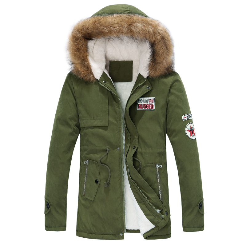 2014 new arrival mens thick warm winter coat fur collar army green badge big yards long section cotton coat jacket menОдежда и ак�е��уары<br><br><br>Aliexpress