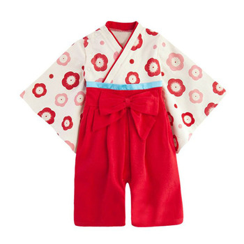 Baby girl Japanese style floral kimono pattern romper dress infant toddler children flower bow cotton clothes Halloween gift