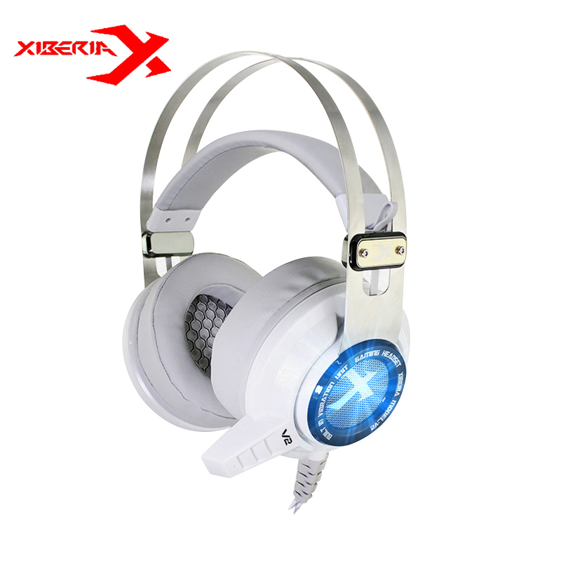 XIBERIA V2+ Shocking Version Gaming Headset Computer Deep Bass Voice Vibration Earmuffs Headphone With Mic Blue Light For LOL