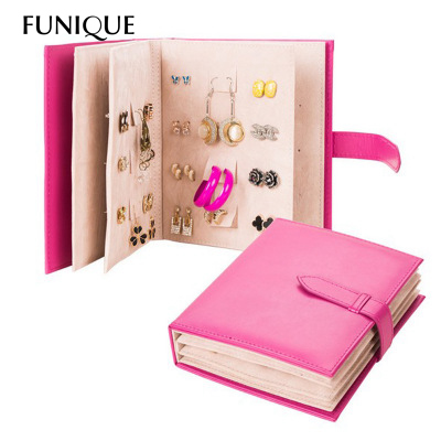 FUNIQUE 2016 Jewelry Display Stand PU Leather Earrings Organizer Collection Notebook Creative Jewelry Display Jewellery Gift Box(China (Mainland))