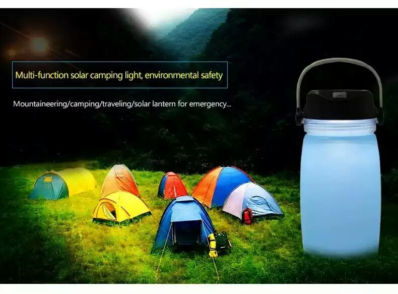 Silicone power bank Bottle Camping Light Solar / Collapsible water bottle Outdoor solar power bank battery Camping Lantern(China (Mainland))