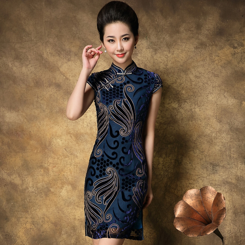 Summer fashion velvet qipao dress quality mulberry silk vintage short married formal - XiangQing-Cheongsam store