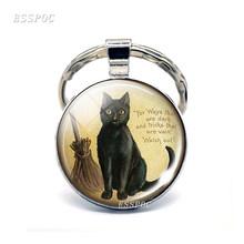 Mặt Trăng đầy đủ Màu Đen Mèo Keychain Glass Cabochon Đồ Trang Sức Gothic Người Yêu Mèo Keyring với Chổi Phù Thủy Cổ Điển Kitten Quà Tặng Móc Chìa Khóa(China)