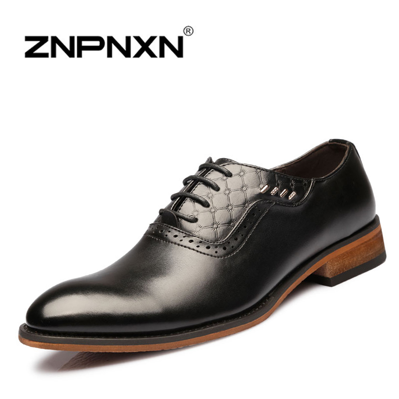 ZNPNXN Mens Shoes casual 2015 new Men Oxfords, Lace-Up Business Wedding Shoes, PU Leather Dress - SHOES Flagship Store store