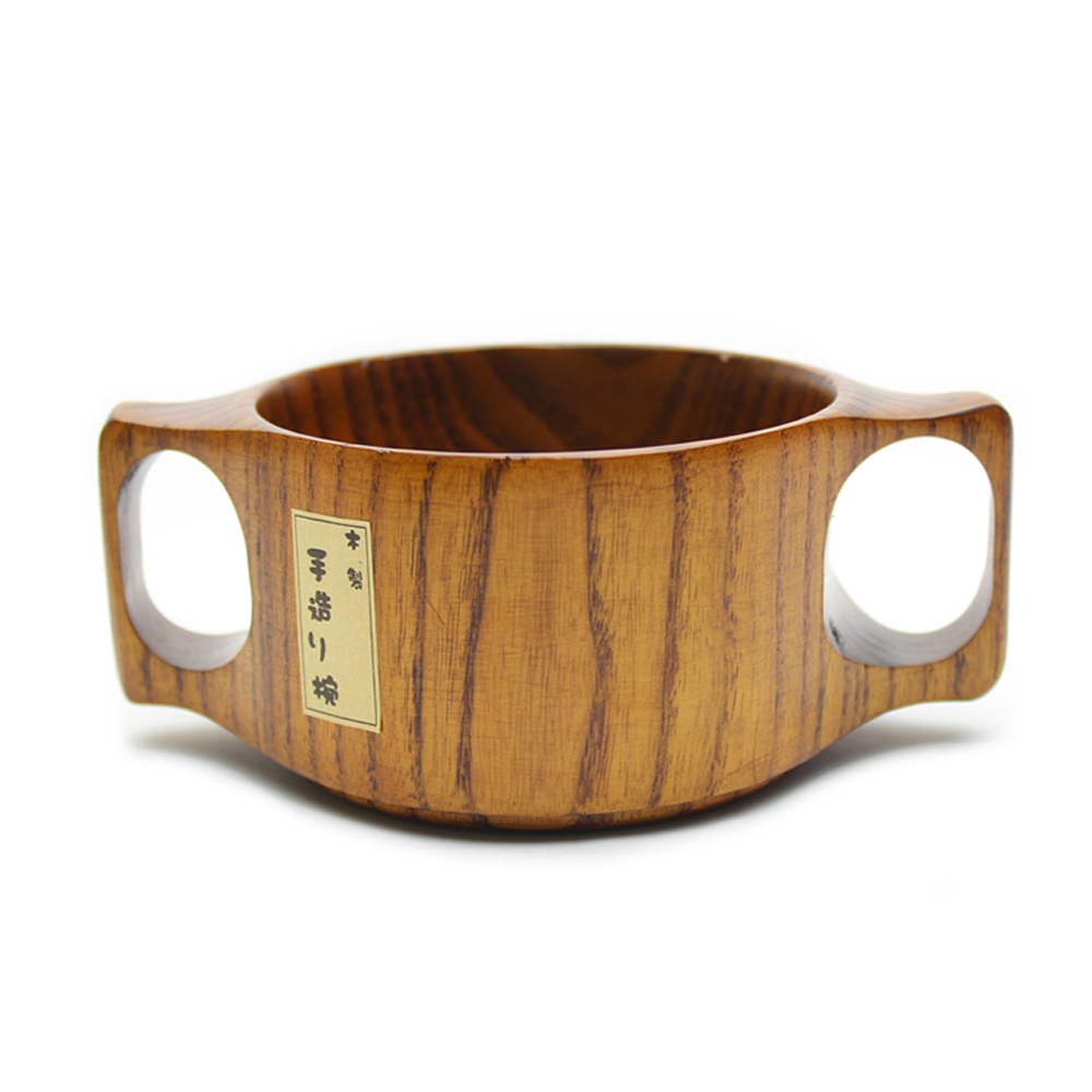 Wooden Dining Bowls ~ Cute type wood rice salad soup bowl with double ear