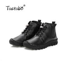 Tastabo El Yapımı yarım çizmeler Kürk Retro Çizmeler Ayakkabı Kadın Moda El Yapımı Slip-on Yumuşak Deri Kış sıcak Çizmeler Bayanlar(China)
