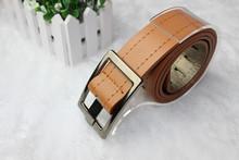 New Fashion 2015 Unisex Faux Leather Waist Belts Brand Sewing Thread Buckle Belt Men Women Design Black White Accessories
