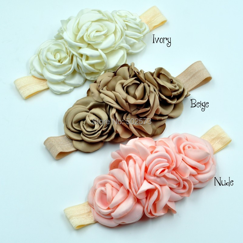 20pcs/lot   Double Small Layered Flower Matching One Big Layered Flower  Baby Headband  3Colors<br><br>Aliexpress