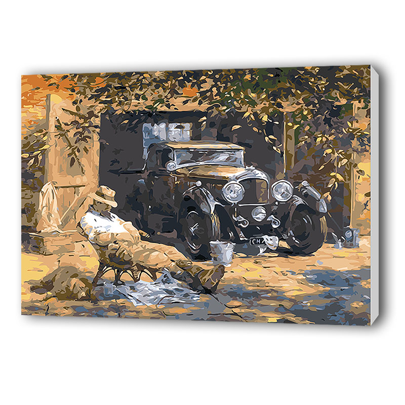 Unframed relax car abstract diy painting by numbers vintage canvas painting home wall art picture for unique artwork(China (Mainland))
