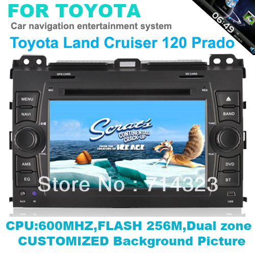 In Dash Head Deck Car PC DVD Player For 2002-2009 Toyota Land Cruiser Prado built in GPS Ipod Bluetooth rds radio audio system