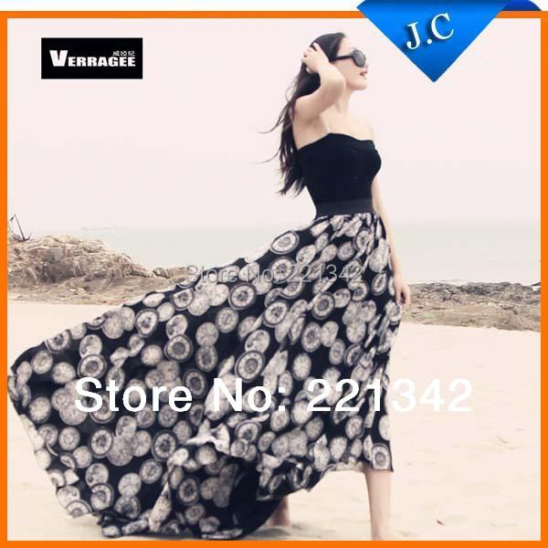 S - XXL 2014 New Fashion Long Pattern Skirts High Waist Womens Floor Length Bohemian Chiffon European Style Printed Skirt Jeecoo store