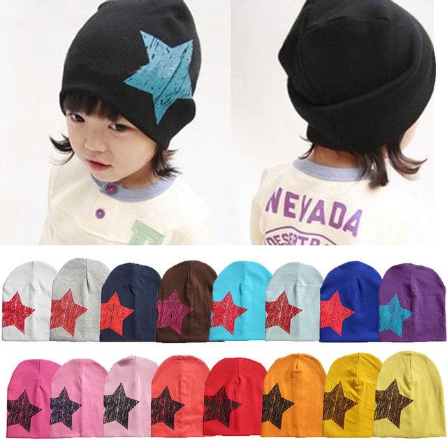 17 конфеты цвета зима мода мужская новорожденный шляпу мальчик малышей младенческой хлопок мягкий милые звезды Hat Cap шапочка 17 цвет W1