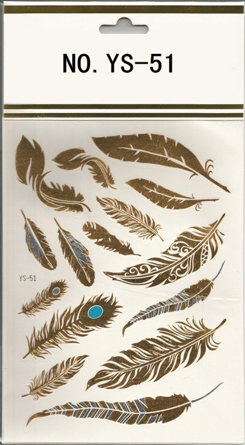 Feather Design 1Sheet Flash Tattoo Gold Temporary Tattoos Glitter Stickers Sexy Products Paper For Women&Men tatuagem metalica(China (Mainland))
