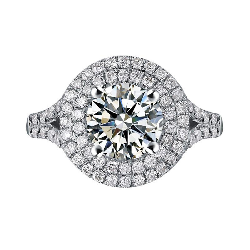 1CT Excellent Custom Ring for Women Solid 14K Genuine Brand Synthetic Diamond Round Moissanite Tested Real Engagement White Gold(China (Mainland))