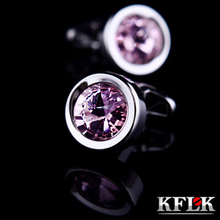 KFLK Luxury shirt cufflinks for men's Brand cuff buttons wedding Crystal cuff links High Quality Pink abotoaduras Jewelry
