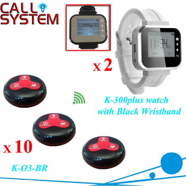 Wireless calling system for restaurant, hotel, waiter call system 10 call buttons with 2pcs receiver watch(China (Mainland))