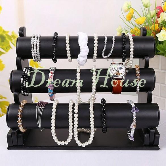 New Black 3-Tier Velvet Watch Bracelet Jewelry Display Stand Holder Rack Free Shipping 34(China (Mainland))