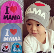 Children's hats I love MAMA and PAPA letter patern super popular children cotton hat baby hat baby hat(China (Mainland))