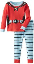 hot christmas 2015 new children clothing boys suits girls cotton deer stripe tops +pants pajamas kids clothes sleepwear sets(China (Mainland))