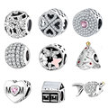 925 Silver Charm Bead Fit Original Pandora Charms Bracelets With Clear Cubic Zirconia DIY 2016 Winter