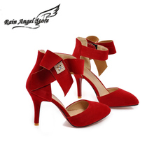 hot sale women shoes sandals high heel bow point toe butterfly thin heel spring summer ladies elegant strappy big size suede(China (Mainland))