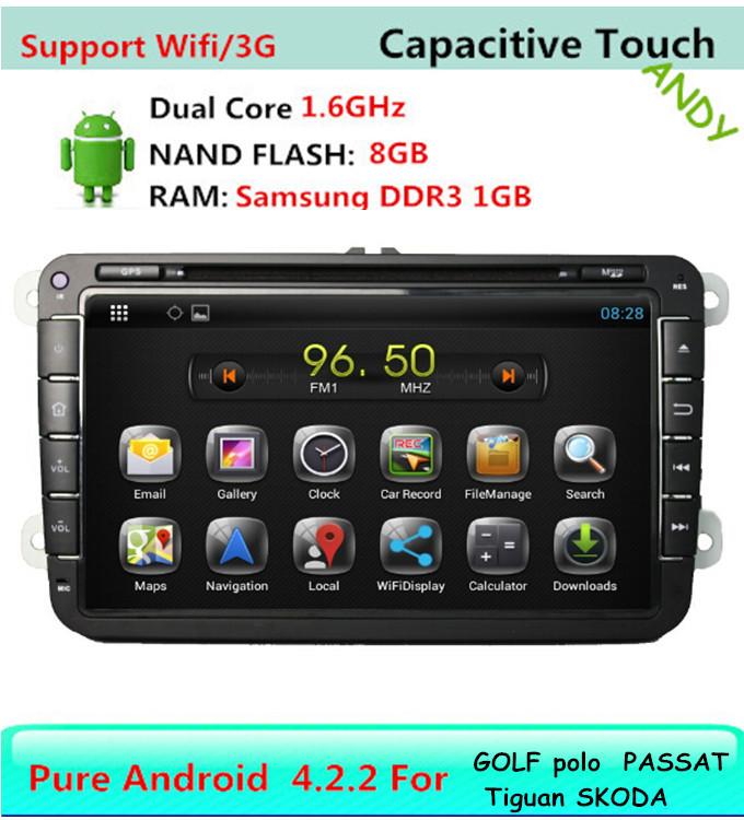 ANDY Pure Android 4.2 VW Car DVD GPS Navi 1.6G CPU RAM GOLF 6 new polo New Bora JETTA MK4 B6 PASSAT Tiguan SKODA OCTAVIA Fabia(China (Mainland))
