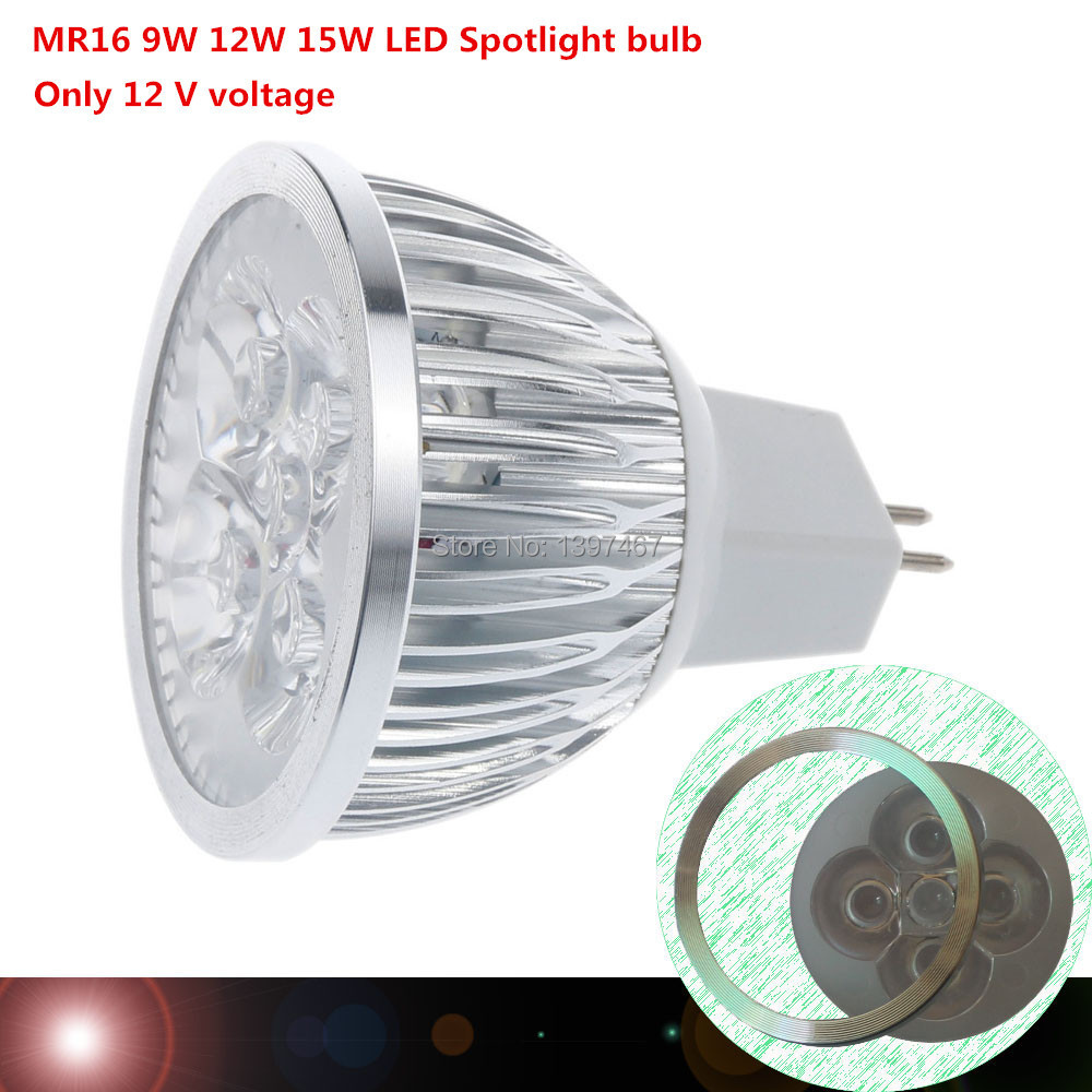 Super Bright 9W 12W 15W MR16 LED Bulbs Light 12V Dimmable Led Spotlights Warm/Natural/Cool White MR16 LED downlight(China (Mainland))