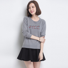 2016 Spring Full/Long Sleeve Knitted Sweater Women Fashion Letter Geometric 100% Wool Sweater 2 Clors