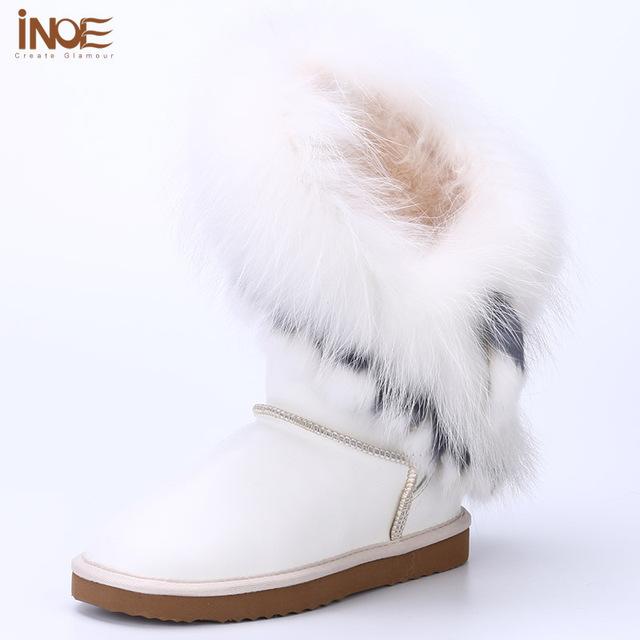 ИНОЕ кожа овчины шерсти меховой подкладке кролика лисий мех кистями модные девушки зима снег сапоги для женщин зимней обуви водонепроницаемой