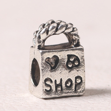 free shipping 1pc christmas anqitque silver shop bag big hole bead charm fit pandora charm bracelet A093(China (Mainland))
