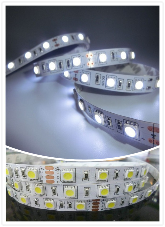 20m/lot Free Shipping 5050 300 SMD 5M 12V LED Flexible Strip Light Non-Waterproof Warm White/White  Tape<br><br>Aliexpress