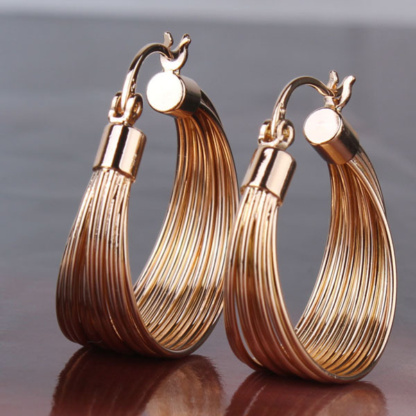 2015 Large Hoop Earrings Fashion Women Hoops Earings Luxury Party 18k Gold Plated Lady Big Hoop Earring for Women Jewelry E412(China (Mainland))