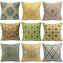 Geometric Flower Cotton Linen Throw Pillow Case Cushion