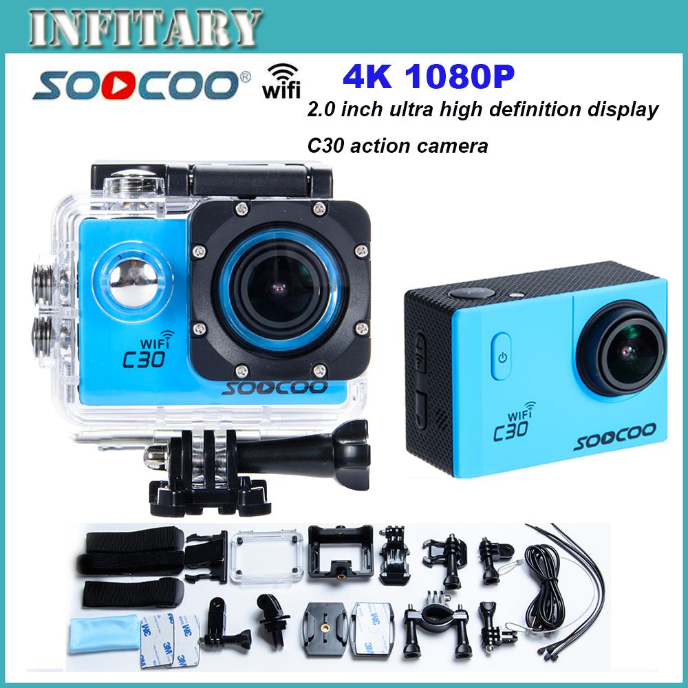 2016 новая камера SOOCOO C30 WI-FI Ultra HD 2 К 2.0 Экран 170/120/90 Угол Регулируемый Водонепроницаемый Спорт на открытом воздухе Действий Камеры