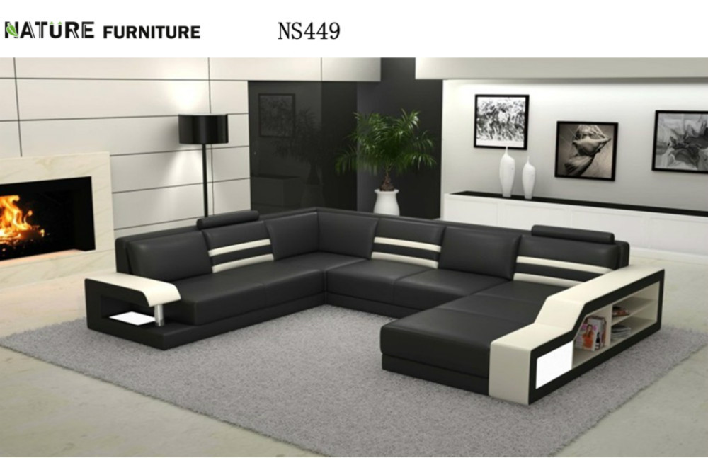 Modern L Shape Corner Sofa Top Genuine Leather Sofa Living Room Furniture NS4