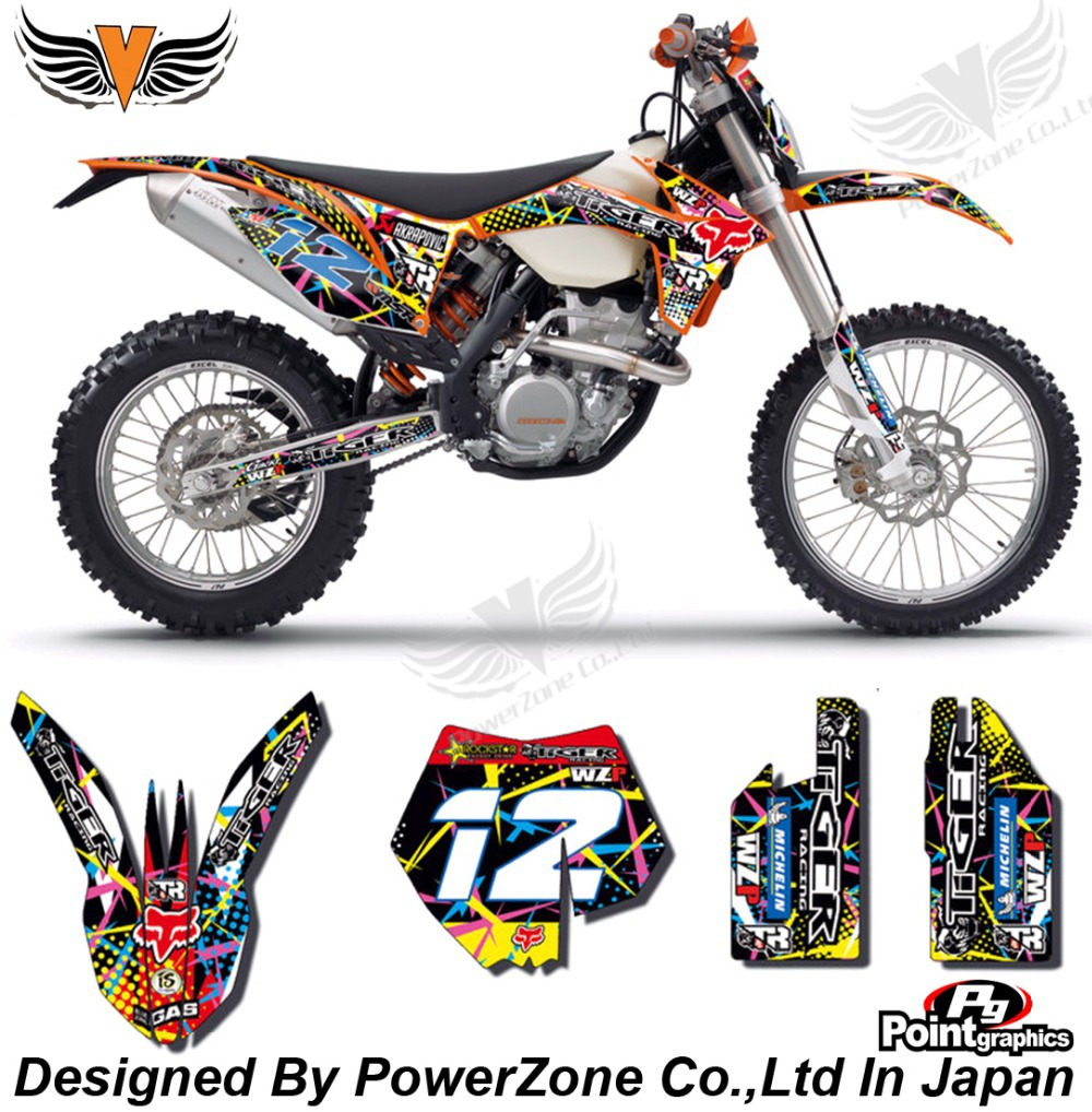 Top Quality Team Graphics & Backgrounds Decals 3M F X Stickers Kits Fit KTM SX SXF EXC 125 250 450 525 1998-2014 Free Shpping
