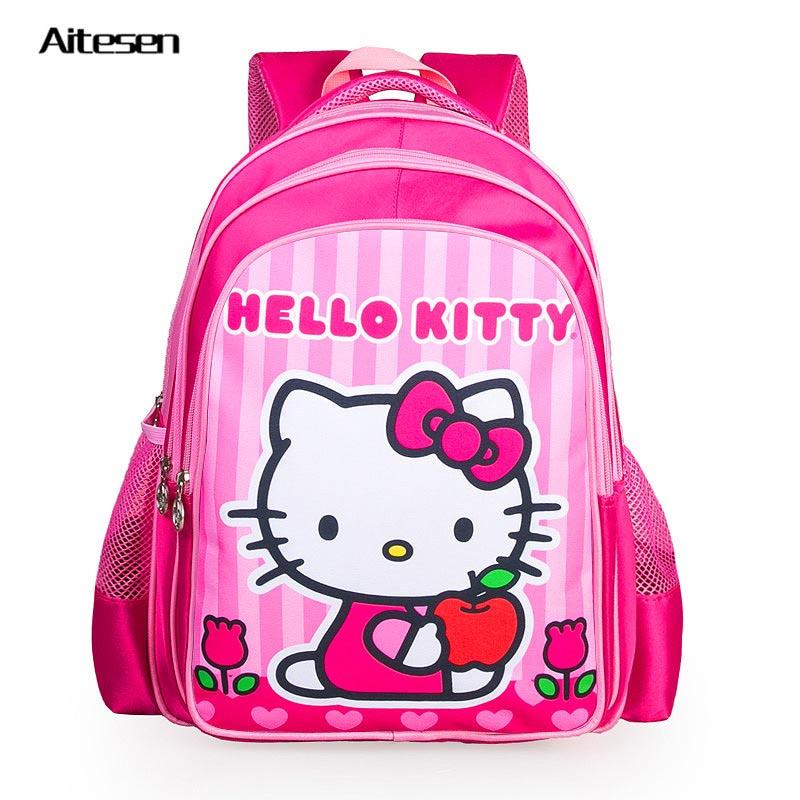 Girls hello kitty cartoon school children baby backpack for kids toddler orthopedic child School rucksacks kindergarten designer(China (Mainland))