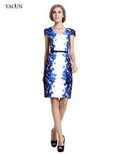 2015 Yacun  V-Neck Women work wear Pencil Cocktail Sheath office Dress For Party Summer and Spring dresses  Plus Size(China (Mainland))