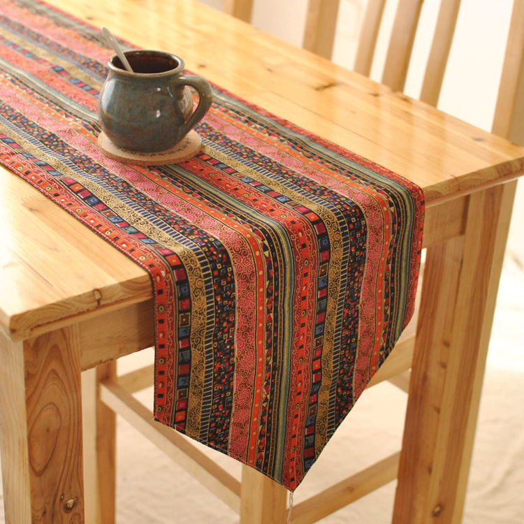Folk style exotic table decoration fashion TV cabinet by table runner flag linen fabrics(China (Mainland))