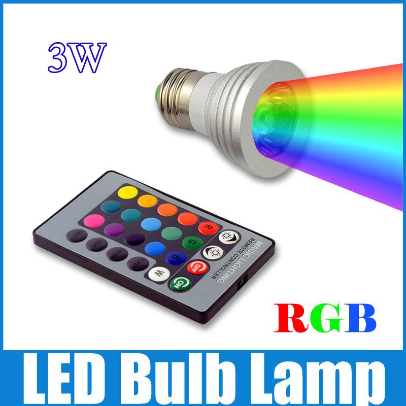 3W RGB LED Bulb 16 Color changing Lamp spotlight 85 - 265V spot light E27/GU10/GU5.3/E14/MR16+ 24key IR Remote control WSP33(China (Mainland))