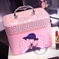 Korean lovely cosmetics bag professional large capacity female cosmetics box with mirror