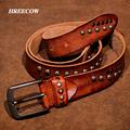 Mens Punk Belt Pin Buckle Genuine Leather Skull Rivet Belt For Man Joker Jeans Designer Exclusive