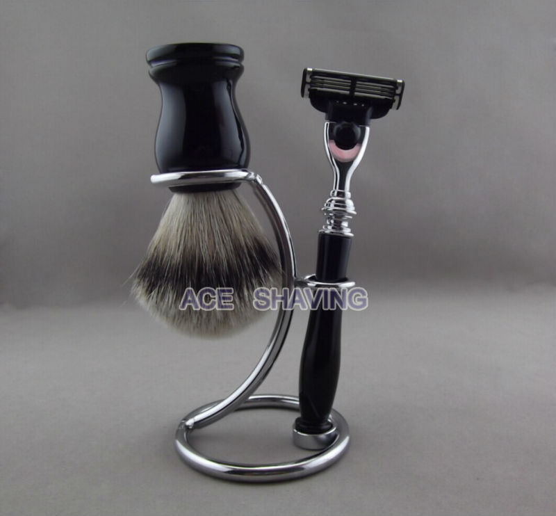 Classic Black Resin Handle Shaving Set Kit Silvertip Badger Hair Beard Brush Razor