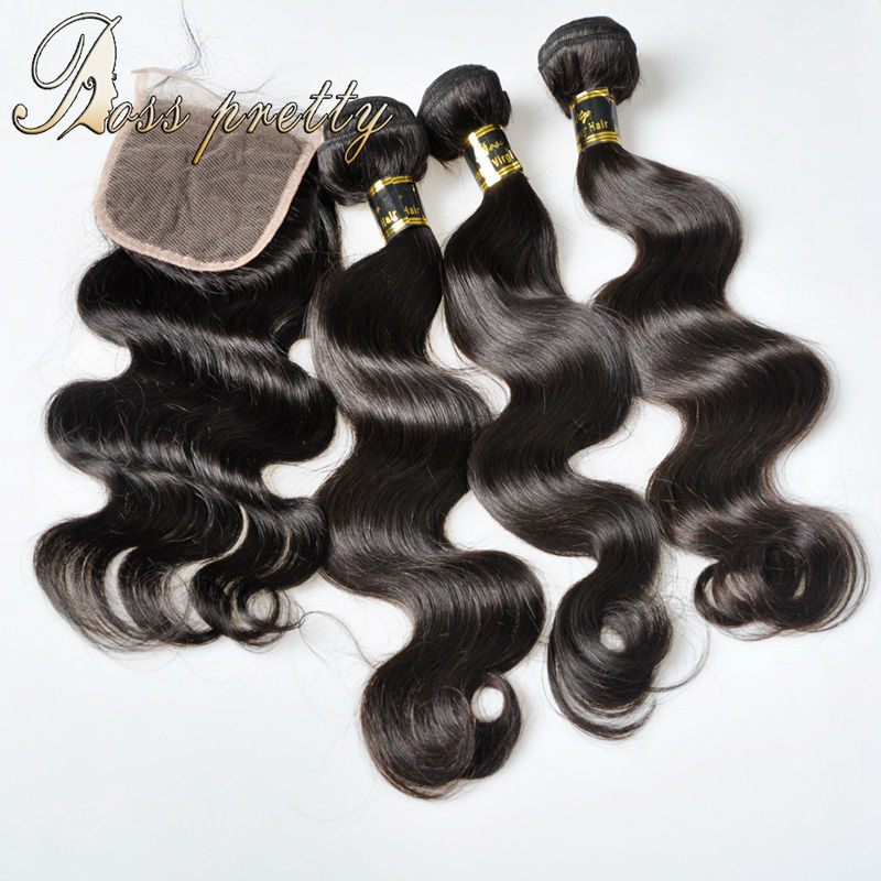 3pcs hair weft with 1pc closure Ross pretty 7A Brazilian virgin hair body wave closure 100% human hair brazilian lace clsoure<br><br>Aliexpress