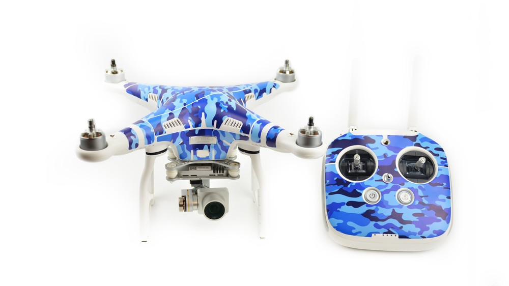 PGY Ocean camouflage Skin For DJI Phantom3 accessories Waterproof 3M PVC Stickers skins decals labels professional Drone parts