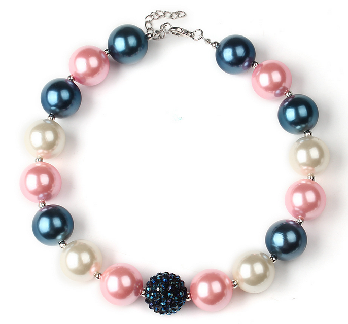 Summer Cute Candy Color Simulated Pearl Pink Chunky Necklace Girls Gorgeous Birthday Gift Toddler Jewelry Kids Accessories WXN37(China (Mainland))