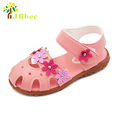 J Ghee 2017 Summer Girls Sandals Anti kick Toe cap Children Shoes PU Leather With Flowers