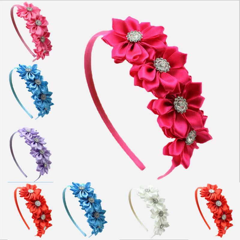 Girls Satin Ribbon Flower Hair Band Baby Girl Hairband Baby&Kids Hairwear Princess Headband Children Accessories 1 Pc(China (Mainland))