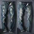 2017 Fashion Designer Destroyed Trousers Slim Male Skinny Ripped Jeans Men Distressed Denim Pants Plus Size
